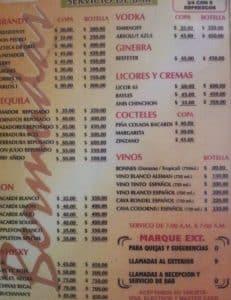 Motel Bermudas Puebla Carta