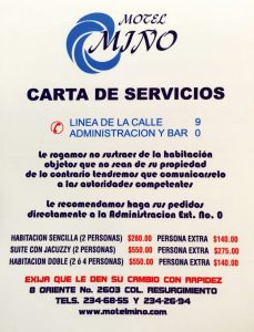 Carta Motel Miño